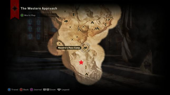Dragon Age Inquisition - map location of the Abyssal High Dragon in the Western Approach