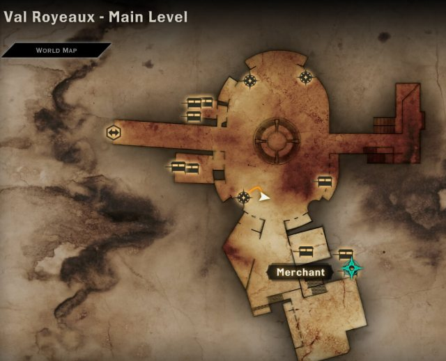 Map location of the Val Royeaux merchant that sells resistance potion schematics