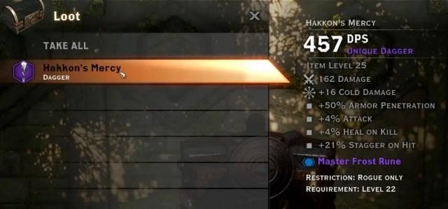 Hakkon's Mercy, a powerful new unique dagger found in Frostback Basin.