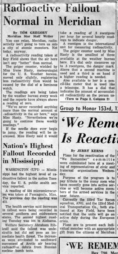 Meridian Star 9-21-1961 Radioactive Fallout Normal 2