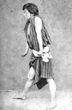 Kano aged 17 (1877), wearing a HadaJuban (肌襦袢)