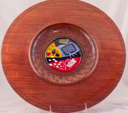 Bubinga Platter with Fused Glass Insert