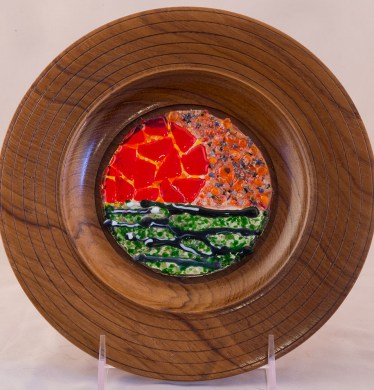 Teak Plate with Glass Insert