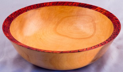 Maple Bowl with Red Rim and Leaves