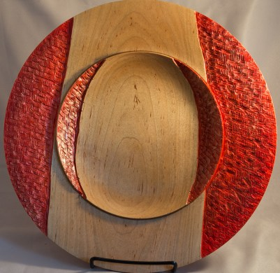 Maple plate with red