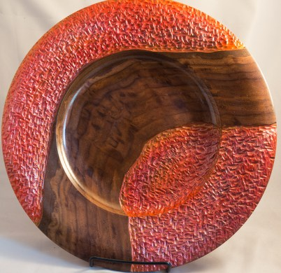 Walnut plate with red