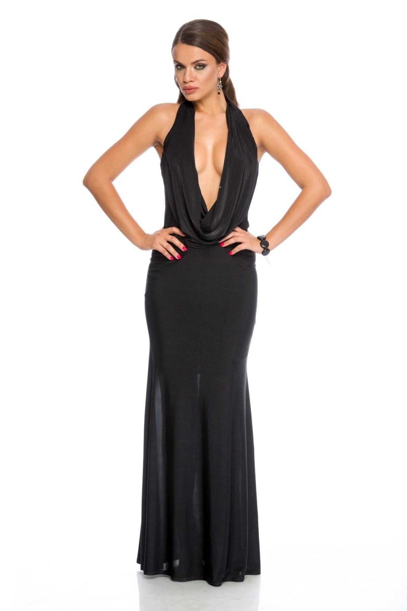 rochie neagra din lycra cu spatele gol