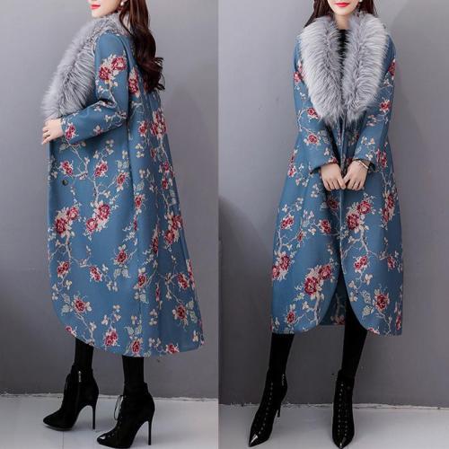 palton dama albastru cu flori