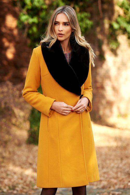 palton dama mustariu elegant