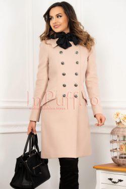 Palton elegant MBG din lana raiata de culoare bej-somon