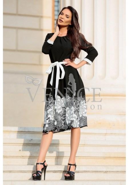 rochie-midi-portofino-neagra-cu-imprimeu-floral-alb-si-cordon