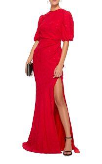 rochie rosie din satin annie b