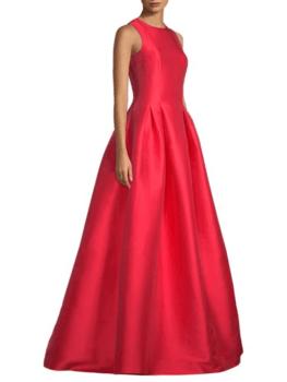 rochie-rosie-din-satin-de petrecere