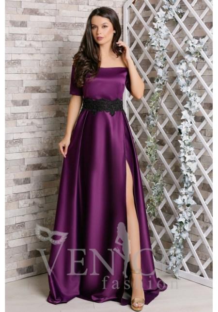 rochie-violette-violet-pruna-de-ocazie-satinata-cu-aplicatii-negre-de-dantela-pretioasa-in-talie