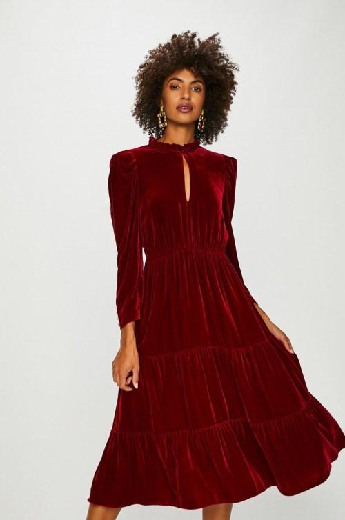 rochie midi din catifea bordo