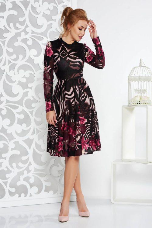 rochie neagra de zi midi