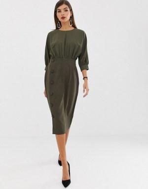 ASOS DESIGN midi pencil dress with button skirt
