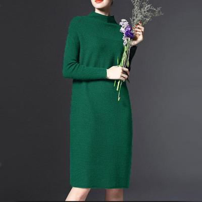 Rochie elegantă, mărime mare, tricotată, cu guler pe gât