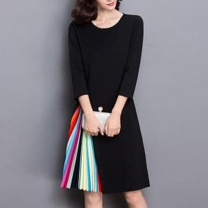 Rochie midi, despicata, cu interiorul despicaturii plisat si plin de culoare, rochie cu maneca trei sferturi