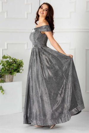 Rochie de seara eleganta cu insertii din fir argintiu