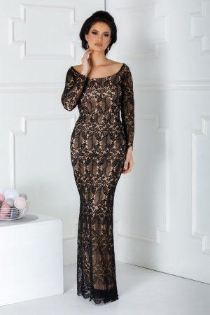 Rochie de seara din dantela neagra cu jupon nude