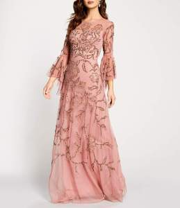 Aidan Mattox Beaded Bell Sleeve Gown