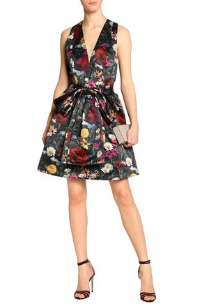 Bow-embellished floral-print satin dress