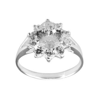 Inel de logodna Argint 925 Oval Halo Princess