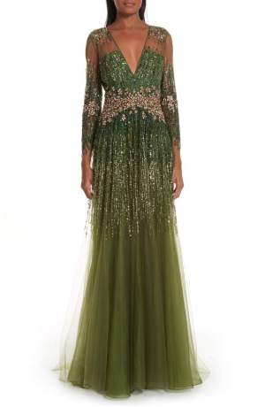 Pamella Roland Crystal Embellished A-Line Gown