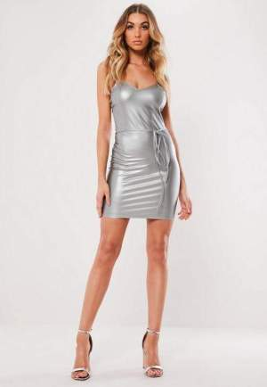 Silver Faux Leather Belted Cami Mini Dress