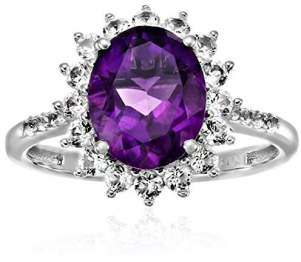 Sterling Silver African Amethyst And Created White Sapphire Engagement Halo Engagement Ring