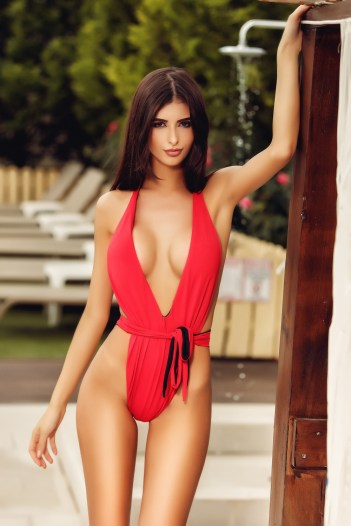 Costum de baie sexy intreg , rosu CB 036