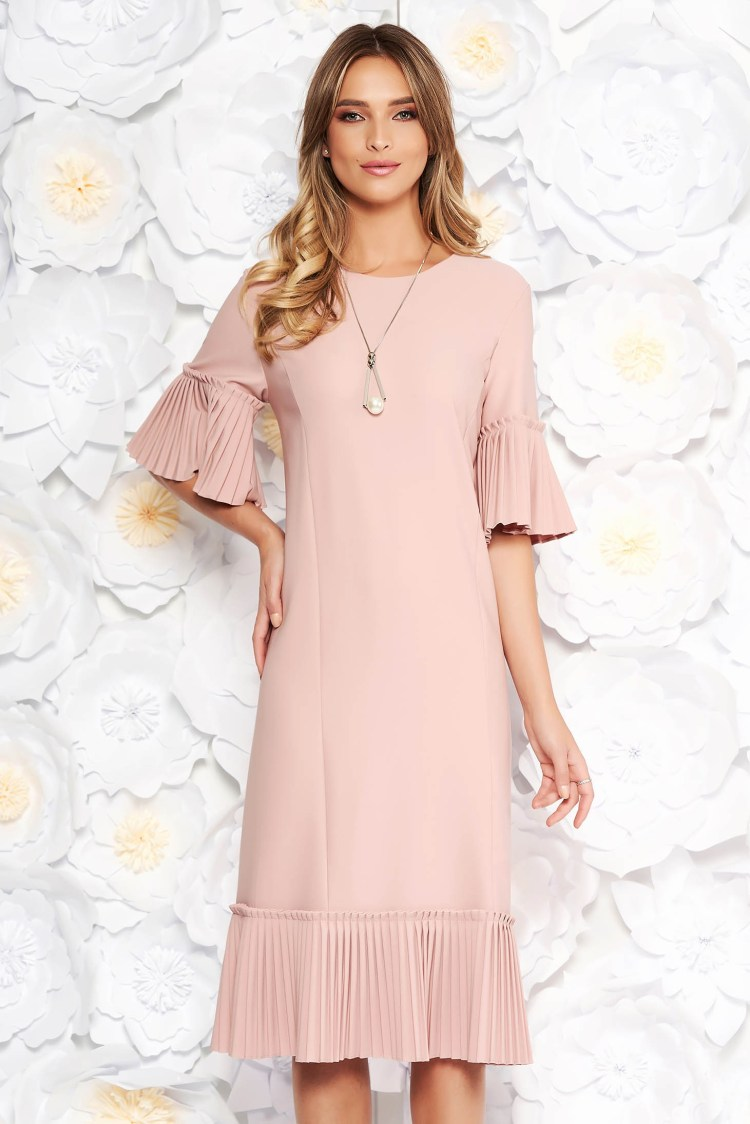 Rochie rosa eleganta midi cu croi larg din stofa usor elastica cu pliuri