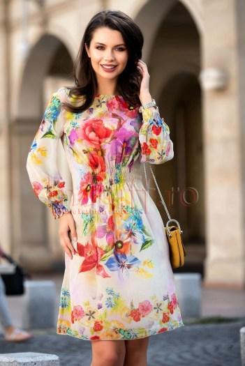 Rochie din voal cu imprimeu floral