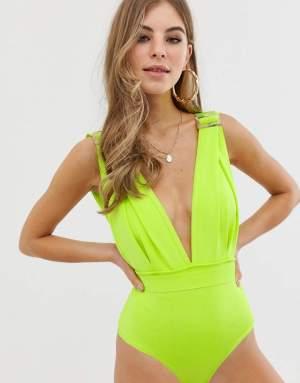Costum de baie intreg verde neon Asos