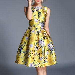 Rochie casual cu imprimeu floral, model A, fără mâneci, rochie potrivită pentru vacanță