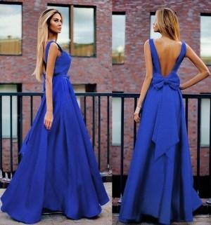 Rochie de ocazie, lunga, albastra, cu fundita, din tafta elastica, Mira