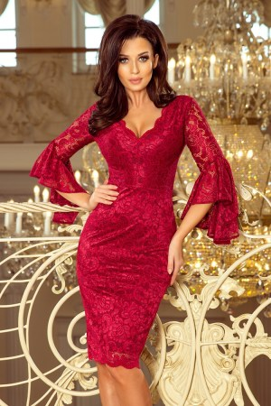 Rochie de seara rosie din dantela cu maneci clopot Numoco – 130839