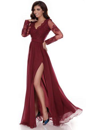 Rochie lungă de seară din voal şi dantelă brodată Darma
