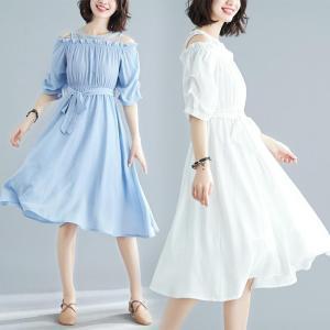 Rochie midi pentru femei, lăsată pe umeri, în formă de A, rochie foarte versatilă