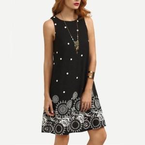 Rochie mini fără mâneci, în formă de A, rochie cu buline și imprimeu