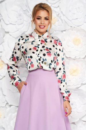 Camasa dama alba eleganta cu croi larg din material satinat cu imprimeu floral StarShinerS