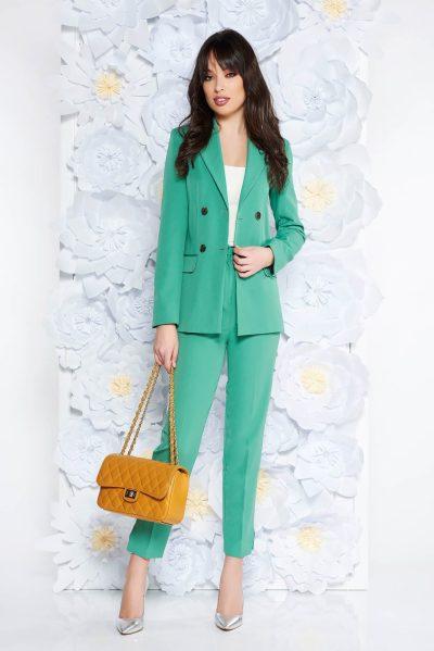 Compleu dama StarShinerS verde-deschis office cu pantalon din stofa neelastica cu buzunare