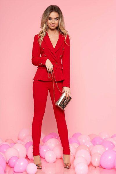 Compleu dama SunShine rosu office din material elastic si fin captusit pe interior cu sacou cambrat si pantaloni conici
