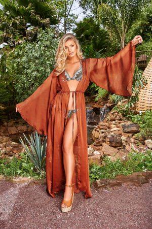 Rochie Cosita Linda caramizie de lux de plaja cu croi larg din material usor transparent cu snur in talie