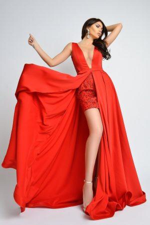 Rochie de lux lunga din tafta rosie cu fusta scurta din dantela Atmosphere