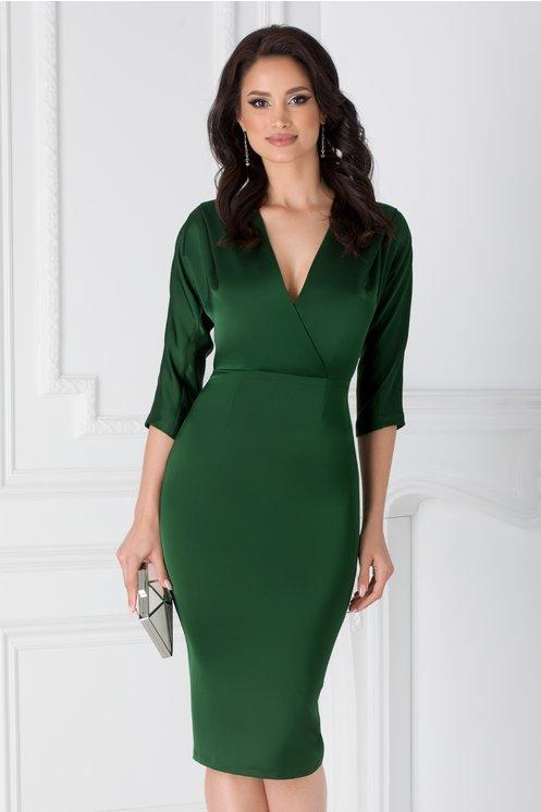 Rochie Moze verde conica cu bust petrecut