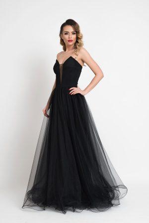Rochie neagra de lux din tul cu bustul tip corset si decolteu adanc in V