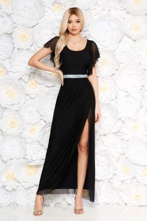 Rochie neagra de ocazie lunga in clos din tul crepata pe picior cu maneci tip fluture cu aplicatii stralucitoare