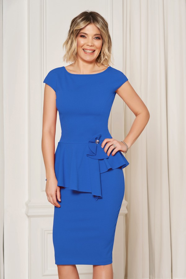 Rochie StarShinerS albastra eleganta tip creion cu un croi mulat cu peplum in talie